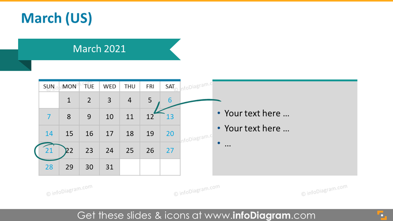 Monthly US calendar 2020 slide with place for notes: March