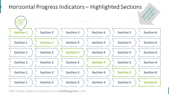Horizontal Progress Indicators – Highlighted Sections
