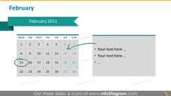 Monthly calendar 2020 slide: February
