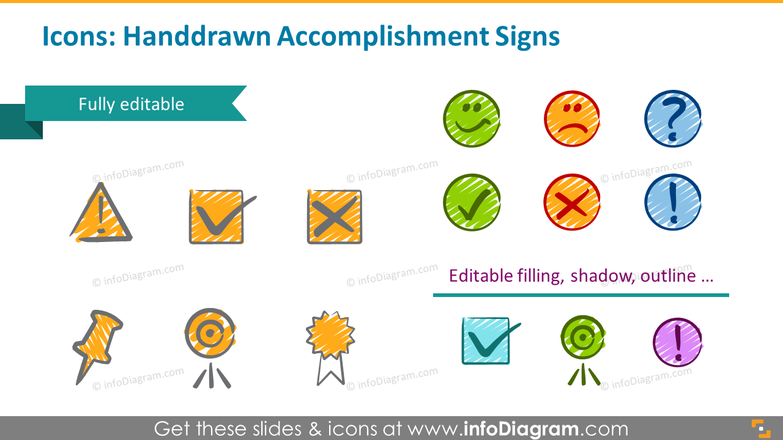 Icons examples: handdrawn accomplishment signs