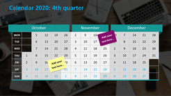 Quarterly calendar 2020 template with place for notes