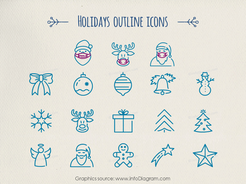 Santa Reindeer Rudolph present box doodle gift symbol