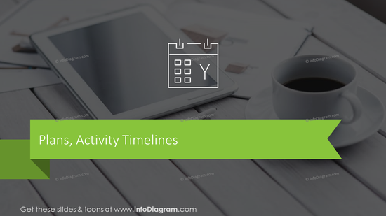 Plans and activities timelines transition slide with photo