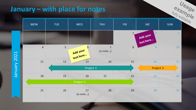 Monthly calendar 2020 slide with place for notes: January