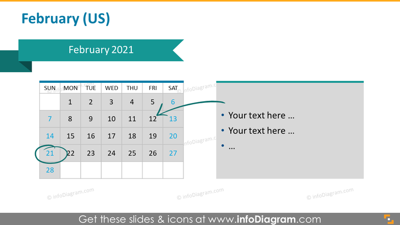 Monthly US calendar 2020 slide with place for notes: February