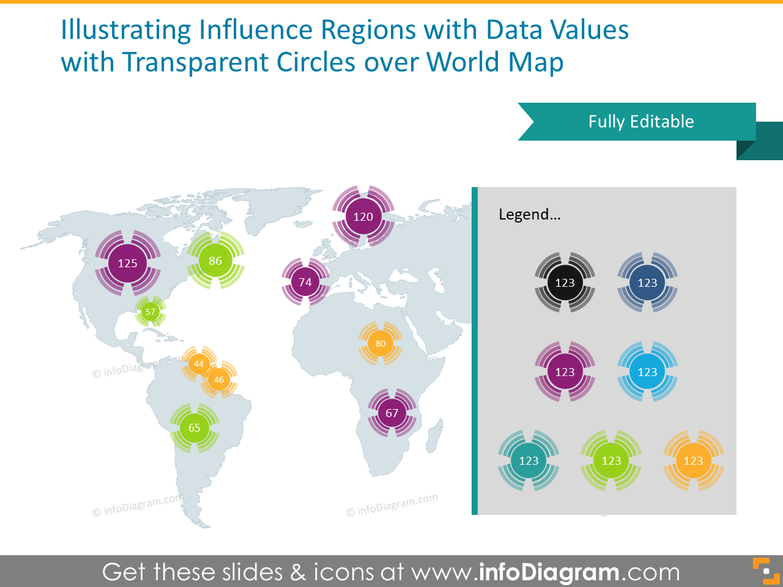 global influence region data illustration PowerPoint radial transparent circle