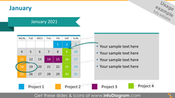 Monthly project calendar 2020 graphics: January