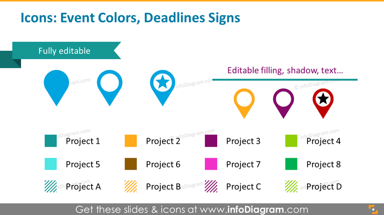 Icons template: event colors, deadlines signs