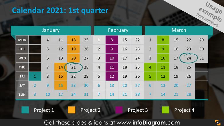 Quarterly calendar 2020 slide: first quarter