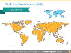 handwritten world map scribble pptx clipart