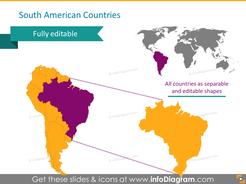 south america countries map brasil pptx slide
