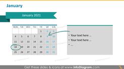 Monthly calendar 2020 slide: January