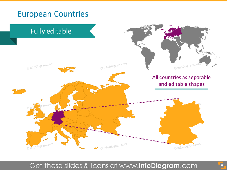 Europe countries map germany ppt clip art