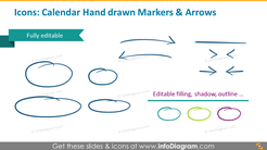 Icons slide: calendar handdrawn markers and arrows