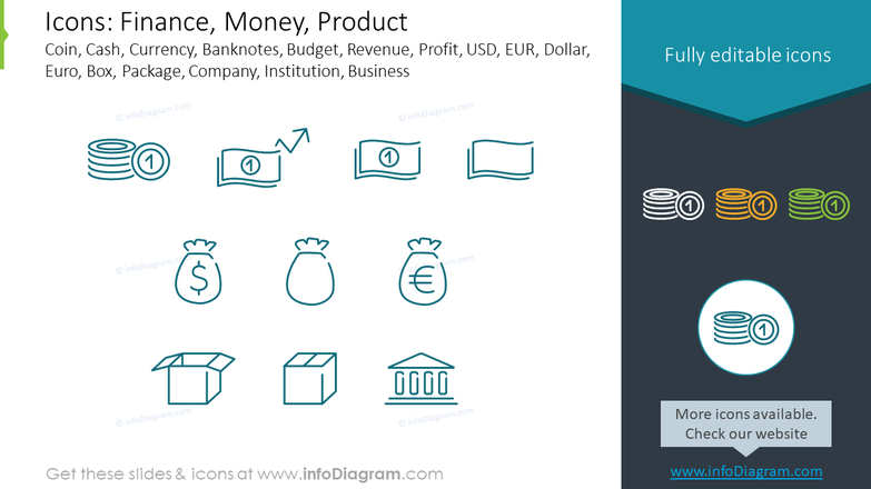 Finance, Money and Product outline style symbols