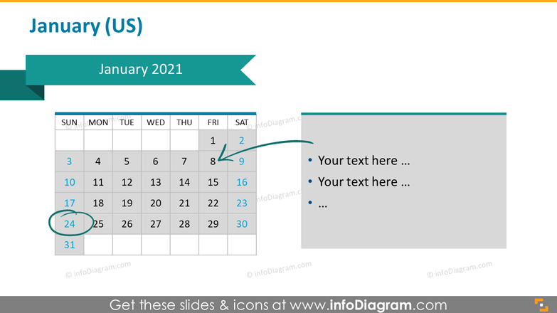 Monthly US calendar 2020 slide with place for notes: January