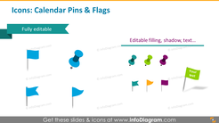 Icons template: calendar pins and flags