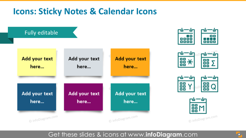 Icons example: sticky notes and calendar icons