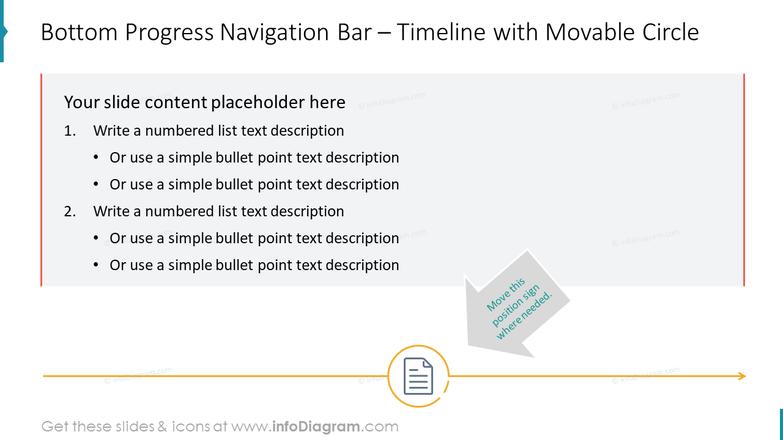 Bottom Progress Navigation Bar – Timeline with Movable Circle